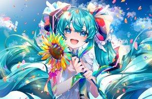 Rating: Safe Score: 48 Tags: aqua_eyes aqua_hair bow clouds flowers hatsune_miku long_hair petals shirayuki_towa sky sunflower tie twintails vocaloid User: mattiasc02