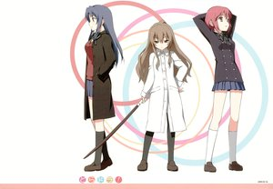 Rating: Safe Score: 67 Tags: aisaka_taiga kantoku katana kawashima_ami kushieda_minori sword toradora weapon User: Wiresetc