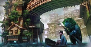 Rating: Safe Score: 72 Tags: animal black_hair boat building city frog kakotomirai_(harvester) long_hair original scenic tree water wristwear User: RyuZU