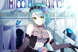 Rating: Safe Score: 43 Tags: aqua_hair bang_dream! butterfly dress flowers gloves gothic green_eyes headdress hikawa_sayo necklace rose tagme_(artist) User: BattlequeenYume