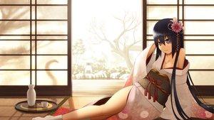 Rating: Safe Score: 123 Tags: black_hair breasts cleavage drink japanese_clothes kimono long_hair onsen original sakais3211 sake socks tree water User: FormX