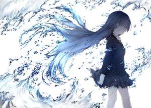 Rating: Safe Score: 100 Tags: aliasing brown_hair haru_(re_ilust) long_hair original polychromatic school_uniform skirt tie water User: BattlequeenYume