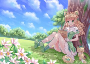 Rating: Safe Score: 41 Tags: animal_ears blonde_hair boots bow braids clouds flowers gloves grass green_eyes long_hair original panties photoshop shade sky striped_panties tail tree underwear villyane User: luckyluna