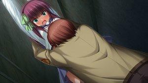 Rating: Safe Score: 36 Tags: angel_beats! blush game_cg headband hug key male na-ga nakamura_yuri otonashi_yuzuru school_uniform User: Tensa