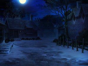 Rating: Safe Score: 103 Tags: building game_cg mitsuki_mantarou moon night nobody otome_renshin_prister scenic snow tree User: Wiresetc