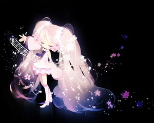 Rating: Safe Score: 90 Tags: black hatsune_miku pink_hair puti_devil sakura_miku twintails vocaloid User: HawthorneKitty