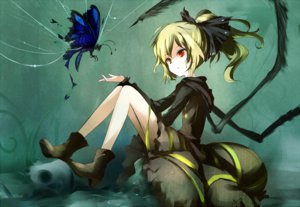 Rating: Safe Score: 165 Tags: boots butterfly hoodie kurodani_yamame loxodon red_eyes touhou User: HeadPhone