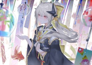 Rating: Safe Score: 44 Tags: animal bagus_casbon fan fate/grand_order fate_(series) fish gray_hair horns japanese_clothes kiyohime_(fate/grand_order) long_hair ponytail red_eyes User: BattlequeenYume