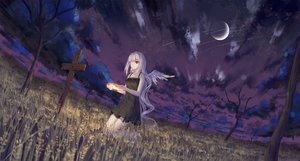 Rating: Safe Score: 62 Tags: angel bandage clouds cross dress eyepatch halo ji_dao_ji long_hair moon night original red_eyes sky summer_dress tree white_hair wings User: sadodere-chan