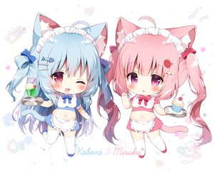 Rating: Safe Score: 43 Tags: 2girls animal_ears apron blue_hair blush bow cake catgirl cherry chibi drink food fruit headdress heart ice_cream koma_momozu long_hair maid navel original pink_hair purple_eyes red_eyes skirt tail thighhighs twintails waitress white wink zettai_ryouiki User: otaku_emmy