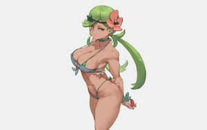 Rating: Questionable Score: 62 Tags: bikini breasts choker cleavage cutesexyrobutts dark_skin erect_nipples gray green_eyes green_hair headband long_hair mao_(pokemon) pokemon swimsuit third-party_edit twintails wristwear User: otaku_emmy