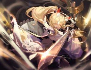 Rating: Safe Score: 32 Tags: arknights blemishine_(arknights) blonde_hair long_hair orange_eyes ponytail samo_(shichun_samo) sword weapon User: BattlequeenYume