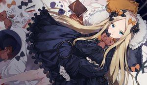 Rating: Safe Score: 96 Tags: abigail_williams_(fate/grand_order) aqua_eyes bed blonde_hair blood book bow dress fate/grand_order fate_(series) hat loli long_hair paper porch5681 teddy_bear User: otaku_emmy