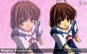 Rating: Safe Score: 8 Tags: brown_eyes brown_hair clannad furukawa_nagisa key logo seifuku short_hair zoom_layer User: 秀悟