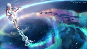 Rating: Safe Score: 48 Tags: barefoot clouds dress instrument long_hair original reflection sky stars summer_dress violin water watermark wenqing_yan_(yuumei_art) white_hair User: otaku_emmy