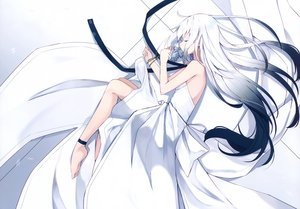 Rating: Safe Score: 53 Tags: cropped dress flowers long_hair nagishiro_mito original polychromatic scan sleeping third-party_edit white_hair User: Nepcoheart