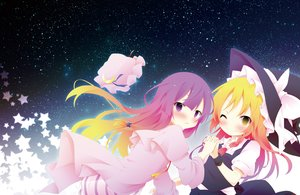 Rating: Safe Score: 20 Tags: 2girls hat kirisame_marisa patchouli_knowledge space stars tagme_(artist) touhou User: luckyluna