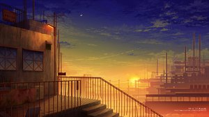 Rating: Safe Score: 110 Tags: building city clouds industrial juuyonkou moon nobody original scenic sky stairs stars sunset watermark User: FormX