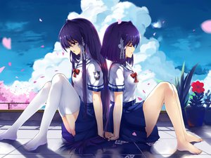 Rating: Safe Score: 136 Tags: 2girls barefoot clannad fujibayashi_kyou fujibayashi_ryou haraguroi_you petals seifuku tears thighhighs User: FormX