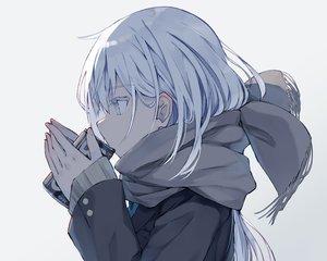 Rating: Safe Score: 74 Tags: close drink gray_eyes nagishiro_mito original polychromatic scarf school_uniform waifu2x white_hair User: otaku_emmy