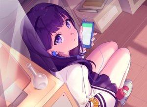 Rating: Safe Score: 46 Tags: book curcumin headphones phone purple_eyes purple_hair seifuku skirt socks ssss.gridman takarada_rikka wristwear User: BattlequeenYume