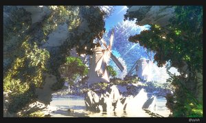 Rating: Safe Score: 100 Tags: 3d landscape nobody original scenic tree waisshu_(sougyokyuu) water windmill User: mattiasc02