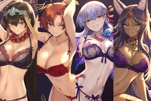 Rating: Safe Score: 156 Tags: animal_ears black_hair boudica_(fate/grand_order) bra cropped dark_skin fate/grand_order fate_(series) green_eyes kama_(fate/grand_order) long_hair mashu_003 navel panties purple_hair queen_of_sheba red_eyes red_hair underwear white_hair xuanzang_(fate/grand_order) User: BattlequeenYume