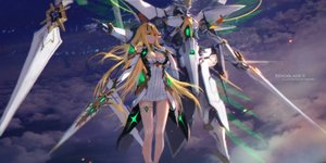 Rating: Safe Score: 39 Tags: blonde_hair breasts cleavage dress elbow_gloves garter gloves hikari_(xenoblade) long_hair mecha swd3e2 sword weapon xenoblade yellow_eyes User: RyuZU