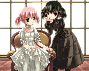 Rating: Safe Score: 51 Tags: 2girls askray black_hair choker dress goth-loli green_eyes loli lolita_fashion moe_(character) original pink_hair red_eyes short_hair twintails yue User: Wiresetc