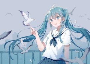 Rating: Safe Score: 40 Tags: animal aqua_eyes aqua_hair bird hatsune_miku long_hair mimengfeixue school_uniform silhouette skirt twintails vocaloid User: RyuZU