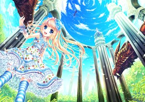 Rating: Safe Score: 72 Tags: 2girls a.yuuki blonde_hair blue_eyes bow clouds dragon dress hat lolita_fashion sky thighhighs User: Zolxys