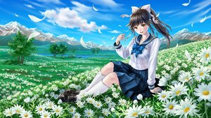 Rating: Safe Score: 67 Tags: black_hair bow clouds flowers fujita_(sodasuitunes) grass kneehighs landscape long_hair love_plus petals ponytail scenic seifuku skirt sky takane_manaka tree User: Flandre93