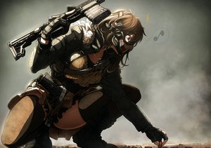 Rating: Safe Score: 421 Tags: boots brown_eyes brown_hair gloves gradient gun imizu_(nitro_unknown) mask military original thighhighs weapon User: RyuZU