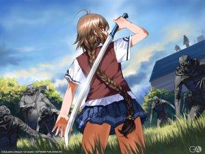 Rating: Safe Score: 24 Tags: braids brown_hair building gagraphic grass logo long_hair school_uniform shirayuki_shoushirou sword watermark weapon User: Oyashiro-sama