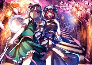 Rating: Safe Score: 78 Tags: 2girls dress fan katana konpaku_youmu myon saigyouji_yuyuko stairs sword touhou uu_uu_zan weapon User: Wiresetc