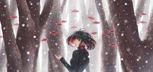 Rating: Safe Score: 52 Tags: animal black_hair fish minami_(minami373916) original red_eyes short_hair snow tree User: RyuZU