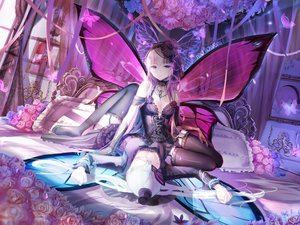 Rating: Safe Score: 336 Tags: 2girls bed blue_eyes breasts butterfly choker cleavage elbow_gloves flowers garter_belt gloves hat hatsune_miku lolita_fashion magnet_(vocaloid) megurine_luka red_flowers ribbons rose stockings takoluka thighhighs vocaloid watermark wings wristwear User: Flandre93