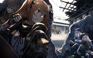 Rating: Safe Score: 82 Tags: anthropomorphism brown_eyes brown_hair g11_(girls_frontline) girls_frontline gun hat hk416_(girls_frontline) long_hair mephist-pheles sleeping thighhighs twintails ump-45_(girls_frontline) ump-9_(girls_frontline) uniform weapon white_hair User: Nepcoheart