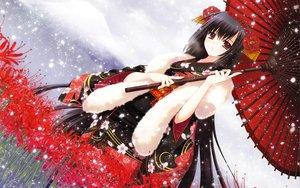 Rating: Safe Score: 121 Tags: black_hair blush brown_eyes flowers japanese_clothes kimono long_hair nishimata_aoi original scarf snow umbrella User: Wiresetc