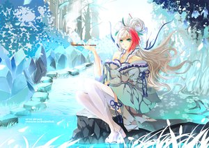 Rating: Safe Score: 136 Tags: blue_eyes japanese_clothes long_hair original smoking thighhighs tree water watermark User: BoobMaster