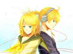 Rating: Safe Score: 17 Tags: blonde_hair blue_eyes headphones kagamine_len kagamine_rin lyrah777 vocaloid User: HawthorneKitty