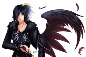 Rating: Safe Score: 3 Tags: all_male blue_hair feathers male short_hair signed sword tales_of_xillia tenyo0819 weapon white wingar wings yellow_eyes User: RyuZU