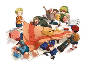 Rating: Safe Score: 18 Tags: all_male blonde_hair blue_hair fire_emblem gloves group gun hat headband ike_(fire_emblem) kirby kirby_(character) link_(zelda) lucas male marth_(fire_emblem) mother mr._saturn ness nikayu pikachu pointed_ears pokemon short_hair sleeping super_mario super_mario_bros super_smash_bros. the_legend_of_zelda weapon white User: otaku_emmy