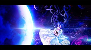 Rating: Safe Score: 34 Tags: blue_hair book dress earth hatsune_miku long_hair mokoppe space twintails vocaloid User: FormX