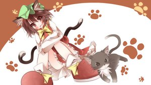 Rating: Safe Score: 89 Tags: animal animal_ears brown_hair cat catgirl chen daidai_ookami hat tail touhou User: opai
