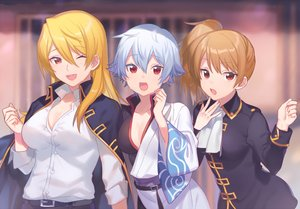 Rating: Safe Score: 38 Tags: blonde_hair breasts brown_hair cleavage genderswap gintama gray_hair heiwa_(murasiho) japanese_clothes long_hair okita_sougo ponytail red_eyes sakata_gintoki shirt short_hair tagme_(character) uniform waifu2x wink User: otaku_emmy