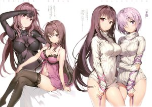 Rating: Questionable Score: 252 Tags: 2girls anmi bodysuit breasts fate/grand_order fate_(series) long_hair mash_kyrielight navel pink_eyes purple_eyes purple_hair ribbons scan scathach_(fate/grand_order) short_hair thighhighs translation_request User: RyuZU