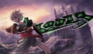 Rating: Safe Score: 73 Tags: building league_of_legends newnand riven_(league_of_legends) short_hair sunset sword weapon User: mattiasc02