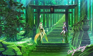 Rating: Safe Score: 68 Tags: 2girls aliasing blonde_hair demon fate/grand_order fate_(series) forest gloves green horns ibaraki_douji_(fate) japanese_clothes kimono landscape long_hair onigirikun pointed_ears purple_eyes purple_hair scenic short_hair shuten_douji_(fate) signed stairs tattoo torii tree yellow_eyes User: BattlequeenYume