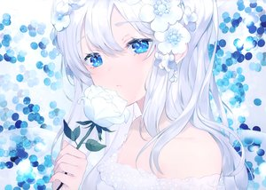 Rating: Safe Score: 114 Tags: achiki blue_eyes close flowers long_hair original polychromatic scan white_hair User: Nepcoheart